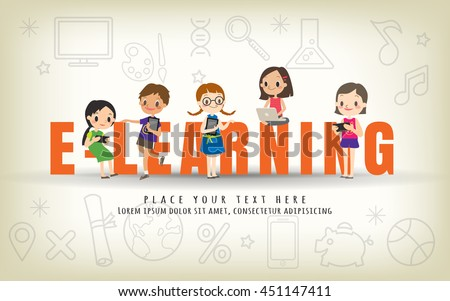 e-learning kids education course concept vector illustration