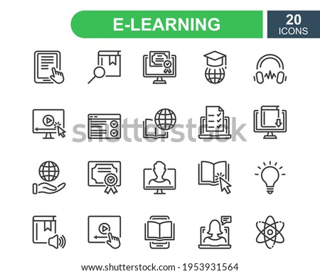 E-learning, online and distance education line icon. Online training, webinar, education, course, elearning, conference, exam. Online education line icons set. Editable stroke. Vector illustration.