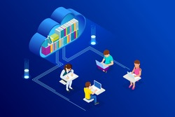 E-learning, Online Education at Home. Isometric concept for Digital Reading, E-classroom Textbook, Modern Education, Online Training and Course, Audio Tutorial, Distance Education, Ebook and Students