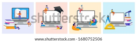 E-learning, online education at home. Modern vector illustration concepts for website and mobile website development