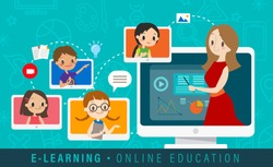 E-learning online education concept illustration. Online teacher on computer monitor. Kids studying at home via internet. vector cartoon.