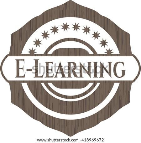 E-Learning realistic wooden emblem