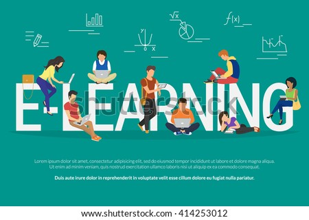 E-learning school illustration of young people using laptop, tablet and smartphone for distance elearning studying and education. Flat people learn and share new technology near letters elearning
