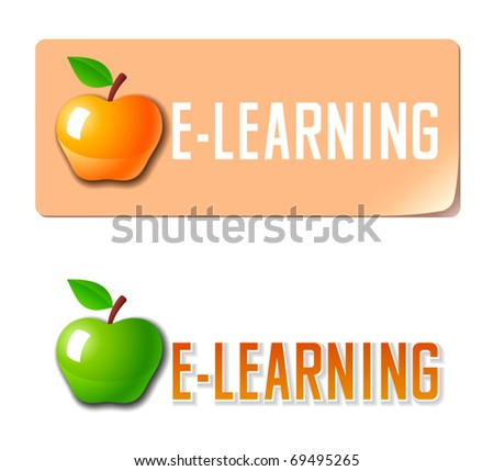 E-learning. Vector banner with apple icon