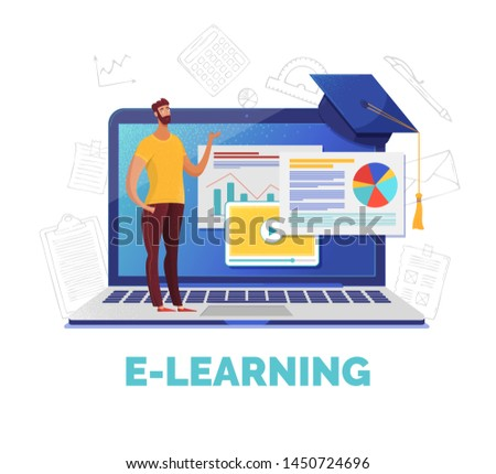 E learning web banner flat vector template. Business analysis, data analytics online course. Tutor offering Internet lesson and video tutorials cartoon character. Remote university educational program