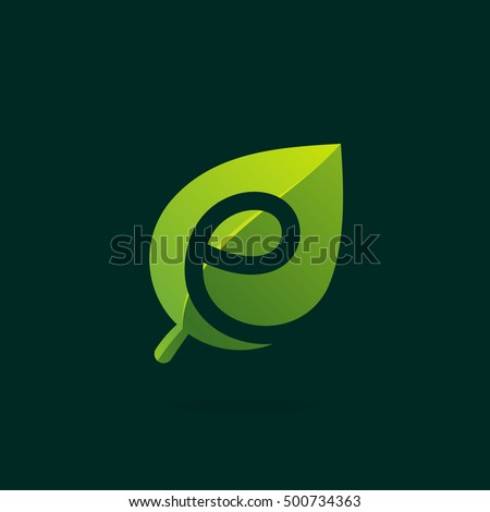 E letter logo in green leaf. Negative space style icon. Vector ecology elements for posters, t-shirts and cards.