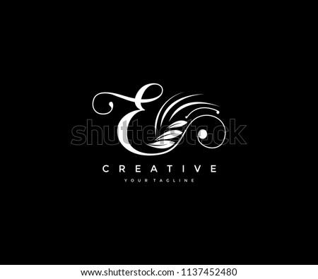 E letter luxury flourishes ornament logo
