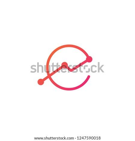 e letter stat stats logo vector icon