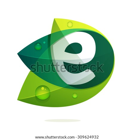 e letter with green leaves and