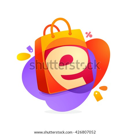 E letter with shopping bag icon and Sale tag.