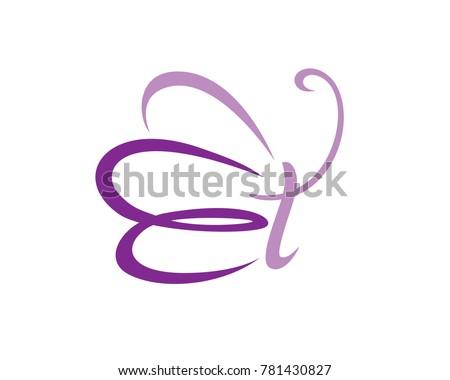 e lettermark for butterfly