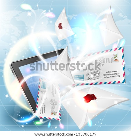 E-Mail concept - Mail from Screen Tablet PC on bright background