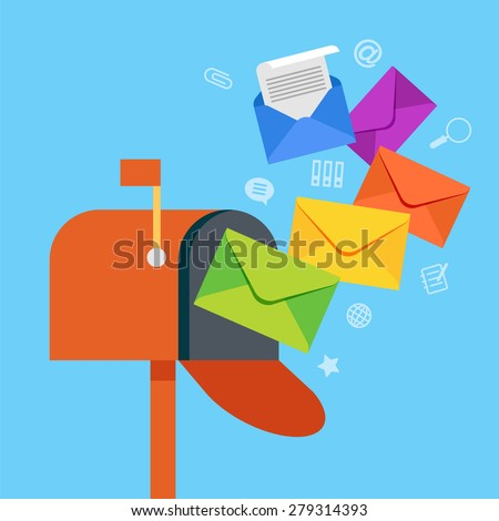 E-mail concept . Marketing e-mail . Mailbox and colored envelopes surrounded by icons . File is saved in AI10 EPS version. This illustration contains a transparency