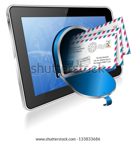E-Mail concept - Open Mailbox with Mail on Screen Tablet PC, vector icon isolated on white background