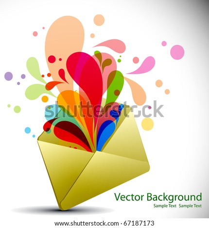 E-mail concept rainbow color swirly background with floral elements from envelope