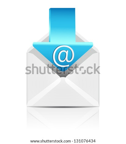 E mail concept. Vector white envelope with arrow email sign icon.