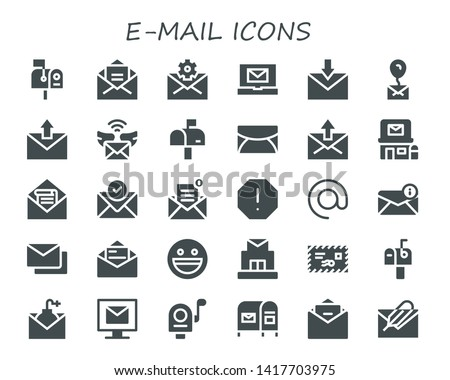 e-mail icon set. 30 filled e-mail icons.  Collection Of - Mailbox, Mail, Email, Post office, Spam, Arroba, Mails, Yahoo