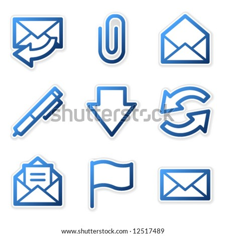 E-mail icons, blue contour series