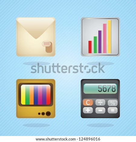 E-mail icons, calculator, statistics, tv on blue background. Vector illustration