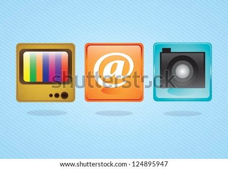E-mail icons,  camera application and tv on blue background. Vector illustration