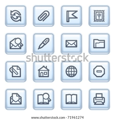 E-mail icons on blue buttons.