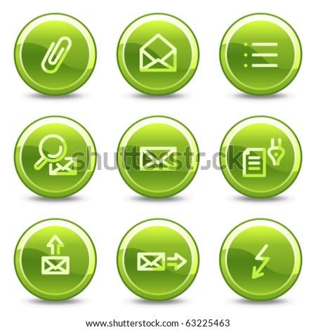 E-mail icons set 2, green circle glossy buttons