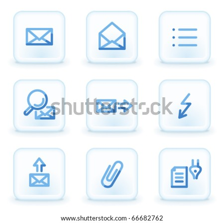 E-mail icons set 2,  square ice buttons - stock vector