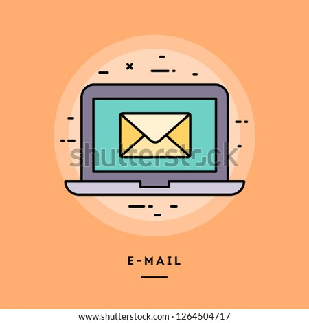 E-mail, laptop with an envelope, flat design thin line banner, usage for e-mail newsletters, web banners, headers, blog posts, print and more. Vector illustration.
