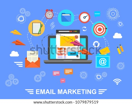 E-mail marketing. Email. Exchange of information by e-mail. Vector illustration.