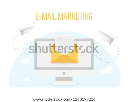E-mail marketing inbox with envelope and paper plane, strategy service,website information,connection people, send mail social