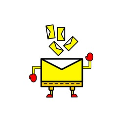 E-mail message characters and letters icon. cute illustration of message for message or email icon. vector illustration
