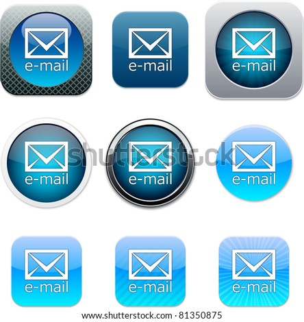 E-mail Set of apps icons. Vector illustration.