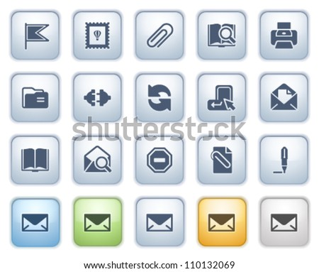 E-mail web icons on buttons. Color series.