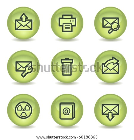 E-mail web icons set 2, green glossy circle buttons