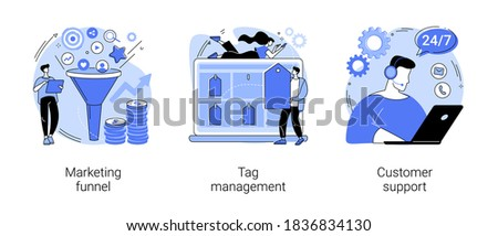 E-marketing abstract concept vector illustration set. Marketing funnel, tag management, customer support, product cycle, data collection, analytic software, online chat, help center abstract metaphor.