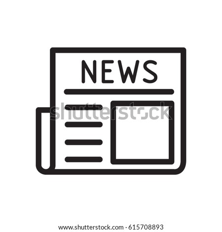 E-Newspaper, magazine line flat vector icon for mobile application, button and website design. Illustration isolated on white background. EPS 10 design, logo, app, infographic.