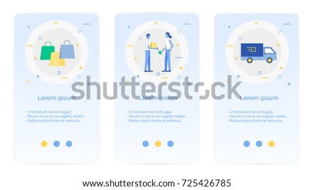 e-shopping set of Mobile Apps Onboarding Designs.Design Empty State Pages for Websites & Mobile Apps.shopping bag, messenger send a box, shipping, van.