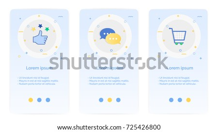 e-shopping set of Mobile Apps Onboarding Designs.Design Empty State Pages for Websites & Mobile Apps.thumb up, shopping cart, message.