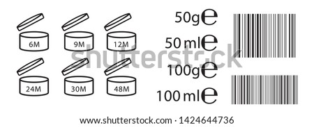 E sign (e-mark) for estimated weights and volumes. Vector symbols for packaging and labels used in the European Union for prepacked foods. Expiration date for cosmetics and example barcodes in black.
