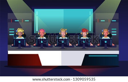 E sport tournament, team playing game. Game arena background. Vector illustration