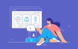E-store and e-commerce website for shopping online. Flat line vector illustration of cute woman sitting alone with laptop and shopping online. Website window with goods in a cart on purple background