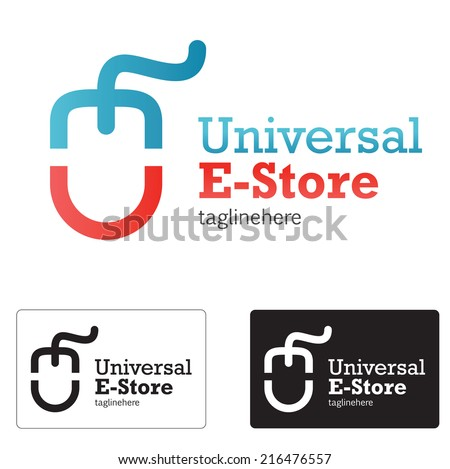 E store logo concept whit abstract e and u letter, mouse.