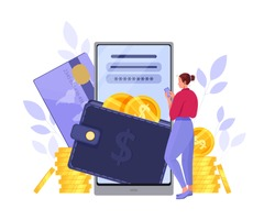 E-wallet or digital online payment vector concept with woman, smartphone, credit card, stacked dollar coins. Money transfer or mobile transaction flat illustration. Digital payment or purchase design