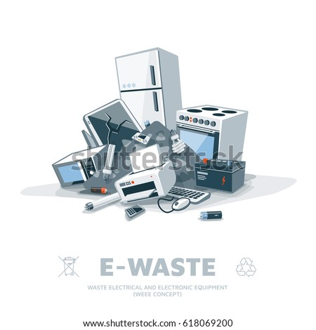 E-waste electrical and electronic appliance trash pile. Computer and obsolete electronic equipment from household fallen on ground in garbage stack. Isolated litter recycling illustration.