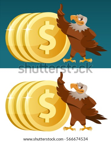 eagle and  dollar coins on