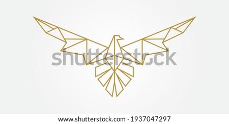 Eagle Animal Mosaic Design. Eagle Falcon Line Art Logo Symbol