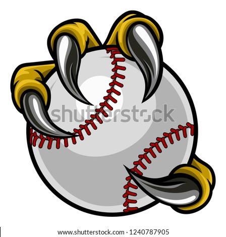 Eagle, bird or monster claw or talons holding a baseball ball. Sports graphic. Photo stock ©