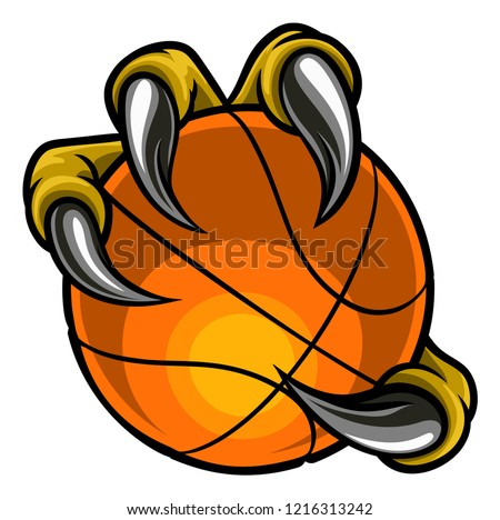 Eagle, bird or monster claw or talons holding a basketball ball. Sports graphic. Photo stock ©