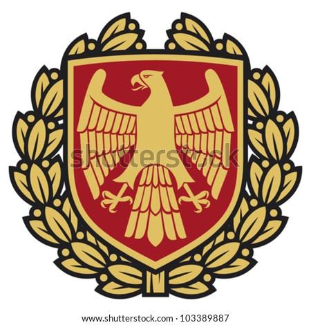 eagle emblem (eagle coat of arms, eagle symbol, eagle badge, eagle shield and laurel wreath)