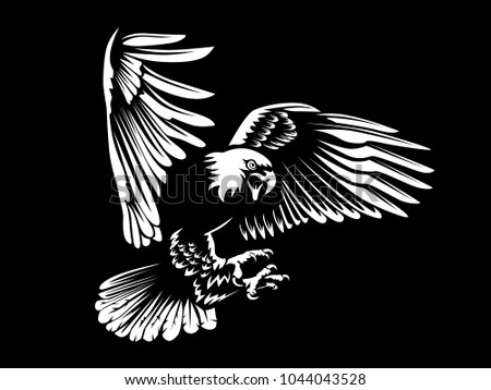 Eagle Emblem Isolated On White Illustration American Eagle Bird